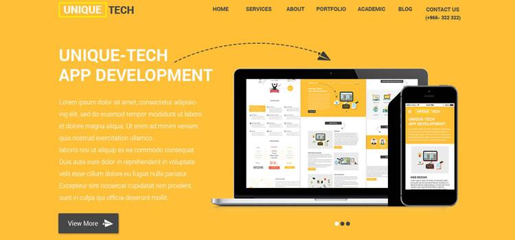 Unique Tech – One Page Html Responsive Portfolio Template ...