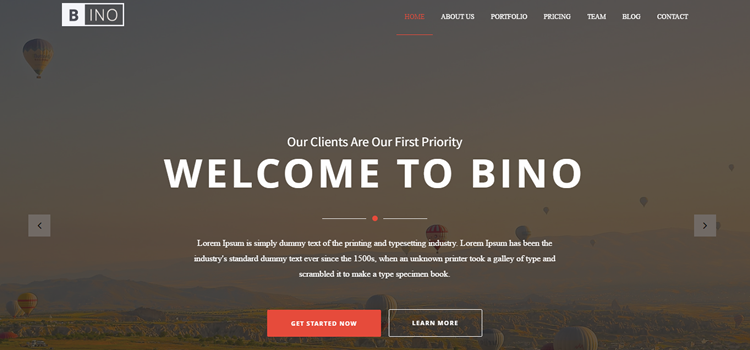 Bino Free HTML Landing Page Template Bootstrap Themes - Html welcome page template