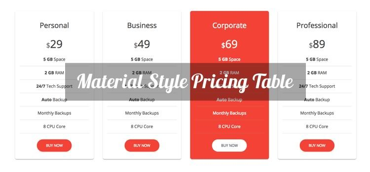Material style free bootstrap pricing table bootstrap for Material design table css