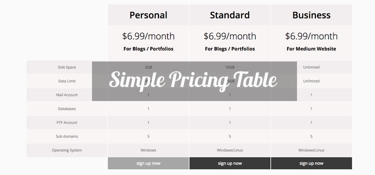 Simple Free Bootstrap Pricing Table