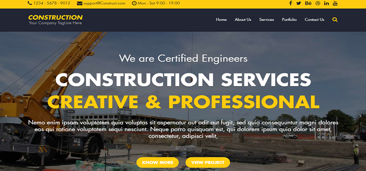 construction free html bootstrap template