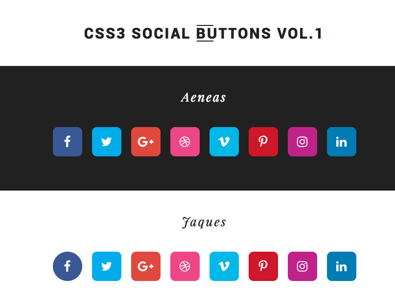 25+ Free HTML5 CSS3 Social Media Buttons and Icons