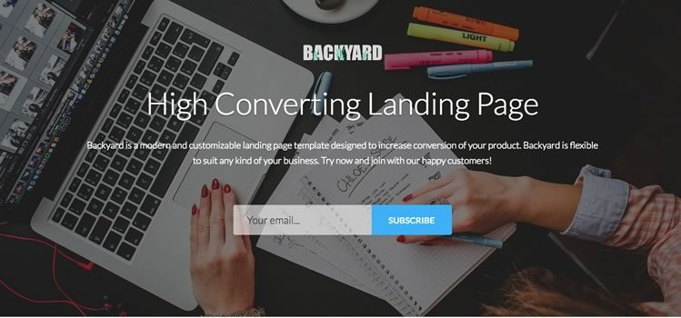Backyard – High Converting Free Bootstrap 4 Landing Page Template