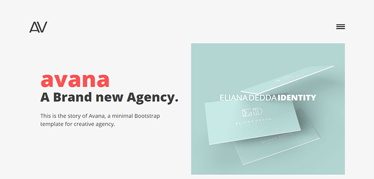 Avana Bootstrap portfolio template for agencies