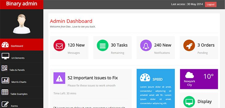 binary admin free responsive html5 bootstrap admin template