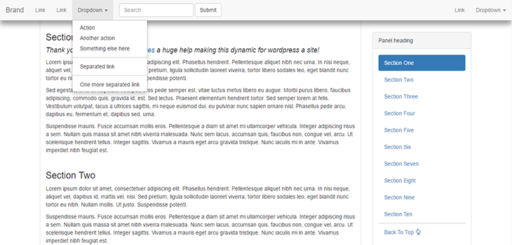 Bootstrap Affix, Fixed Nav And Scroll Shadow | Bootstrap Themes