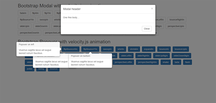Bootstrap Modal and popover with Velocity.js animation