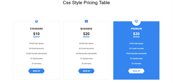 Hover Flip Pricing Table