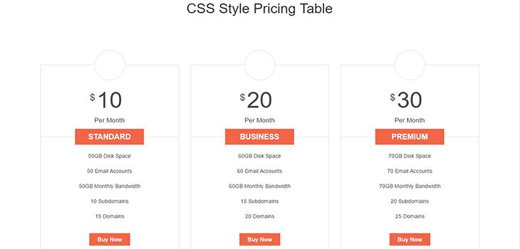 Hover Animated Bootstrap Pricing Table
