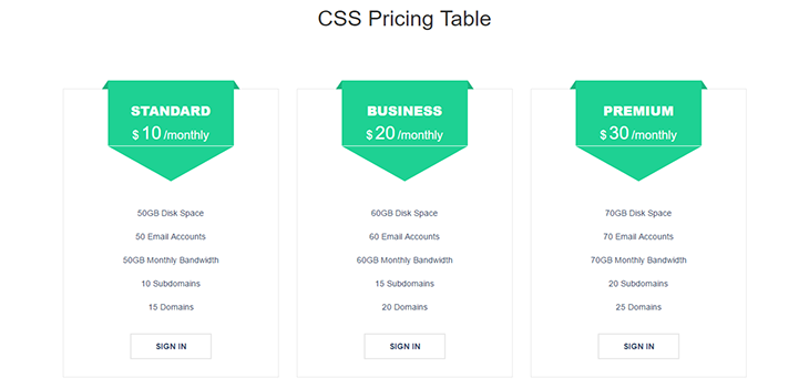 Hover Pricing Table