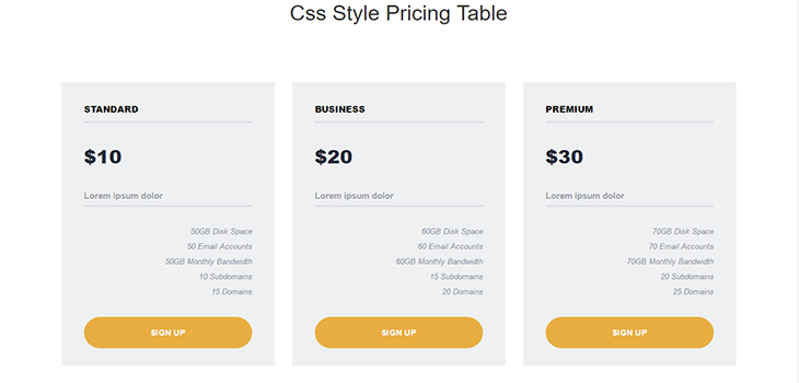Responsive Simple Pricing Table
