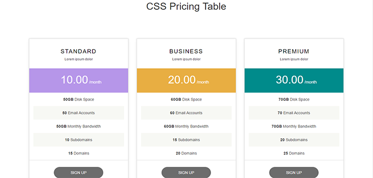 Simple Bootstrap Responsive Pricing Table