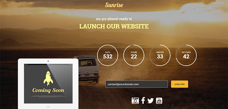 Sunrise – Bootstrap Responsive HTML5 Coming Soon Template