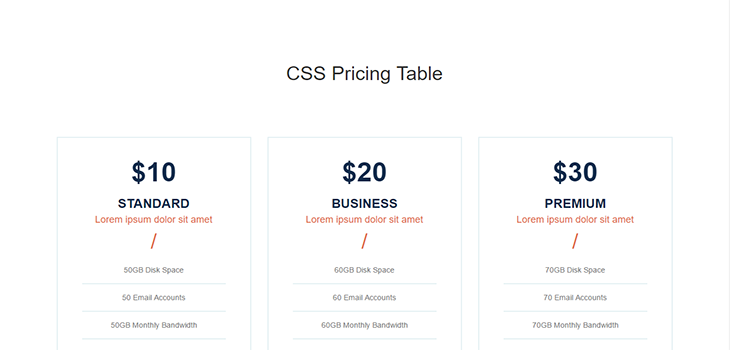 Simple Hover Bootstrap Pricing Table