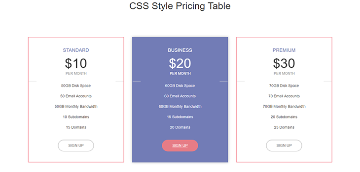 Bootstrap Simple Pricing Table