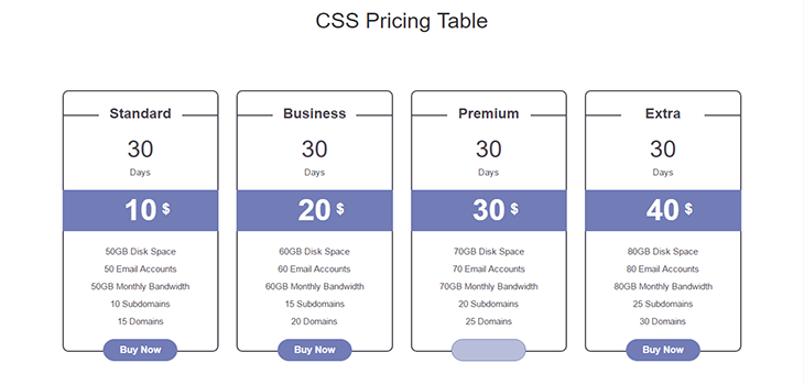 Simple Bootstrap Pricing Table