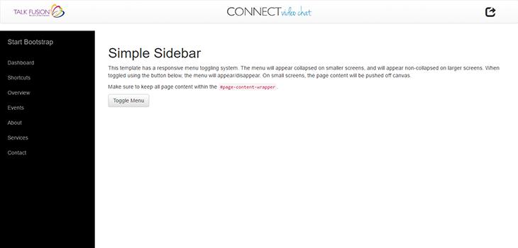 Bootstrap Hidden Sidebar + Nav Icons