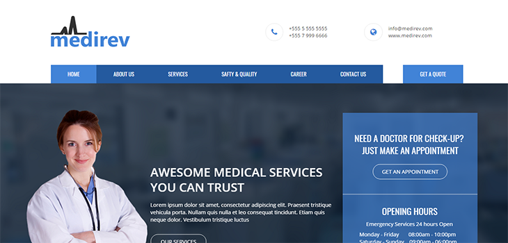 Medirev – Free Medical HTML Bootstrap Template