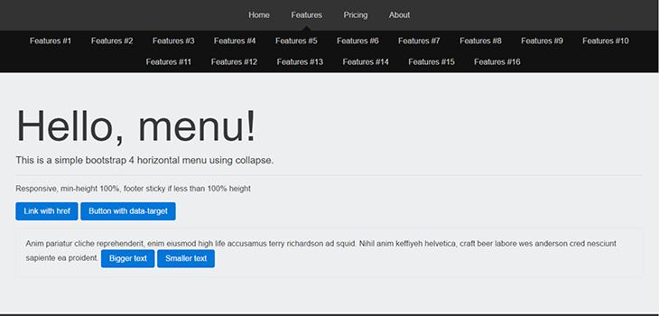 Simple bootstrap 4 horizontal menu | Bootstrap Themes