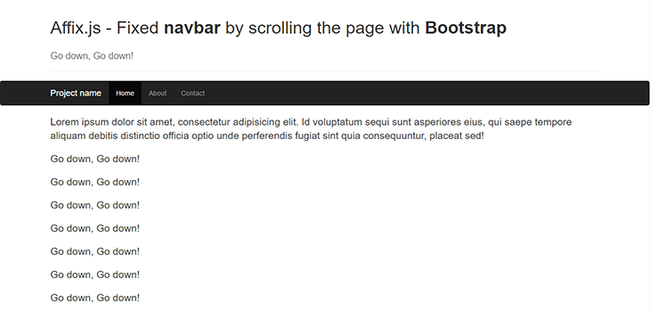 Sticky Navigation with Affix js Bootstrap | Bootstrap Themes