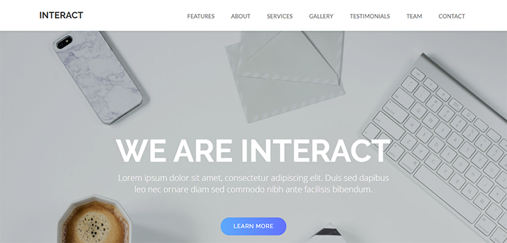 Interact Free One Page Bootstrap Template