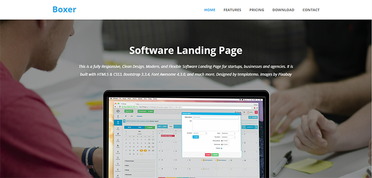 Boxer Software Landing Page Free HTML Template Bootstrap Themes - Free landing page templates html5