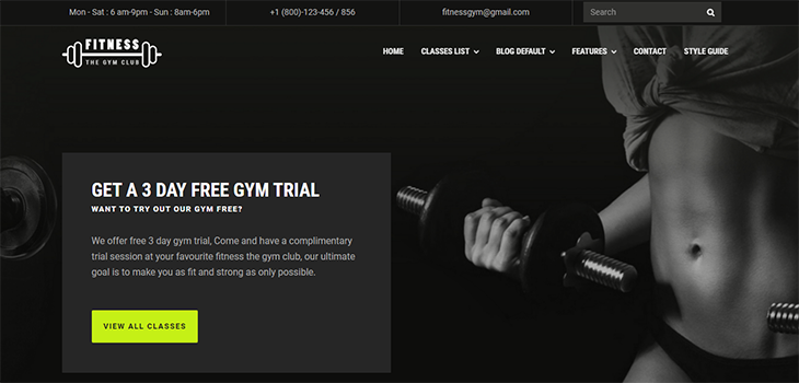 Fitness Gym Website Template