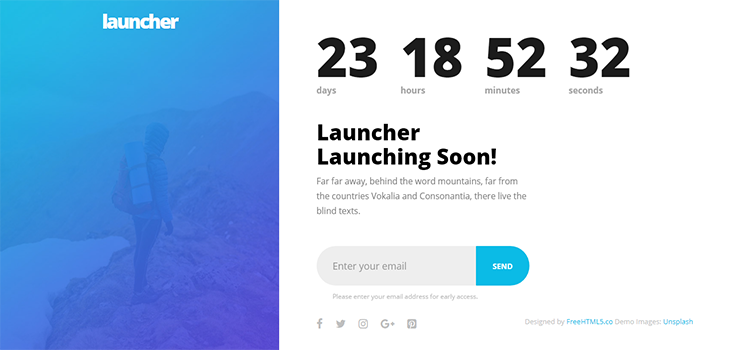 Launcher HTML5 Bootstrap Template
