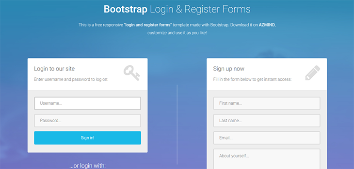 Bootstrap Login and Register Form