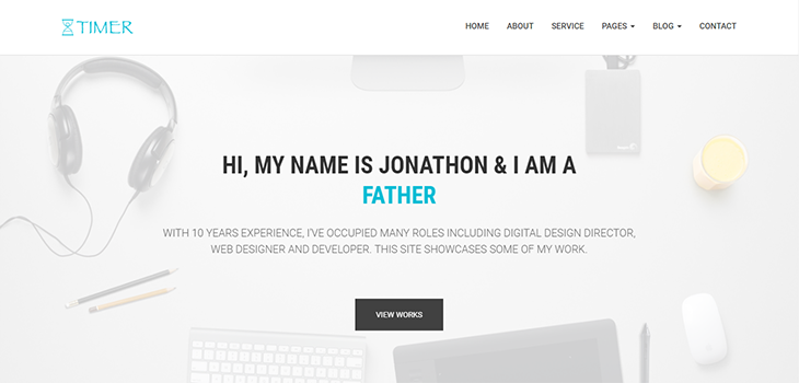 Timer – Free Responsive Multi Page Personal Bootstrap Template