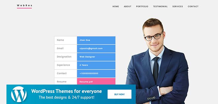 Webres – Resume WordPress Theme